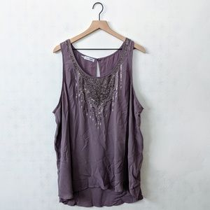 Maurices 3 Lavender Tank Blouse with Beaded Detail
